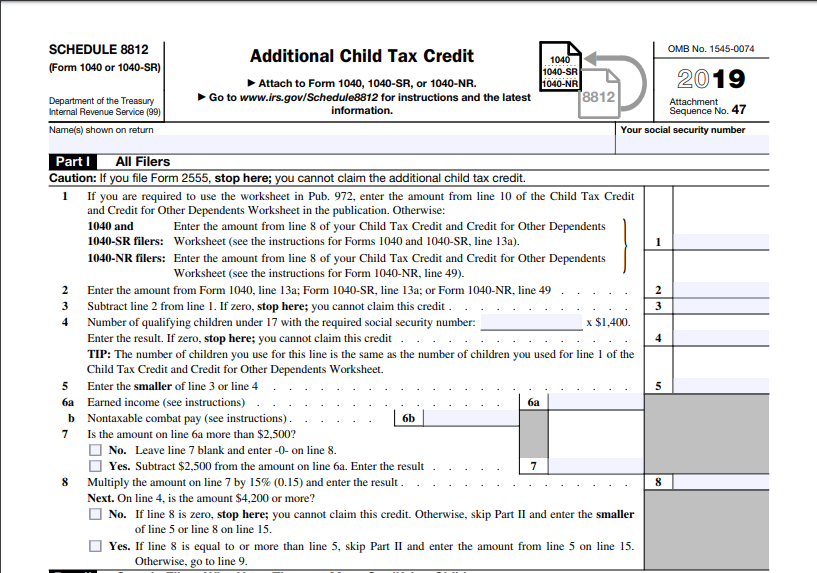 What Is Irs Form Schedule 8812 Filing