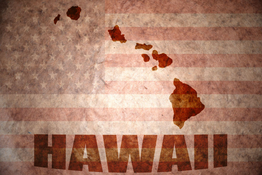 36617434 - hawaii map on a vintage american flag background