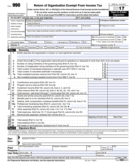 Form 990 Irs Non Profit Tax Returns Tax Form 990 Community Tax
