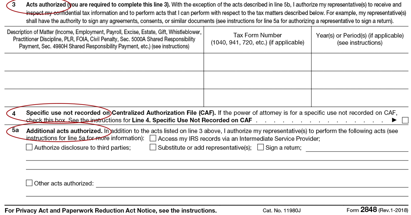 Form 11: Instructions for IRS Power of Attorney ...