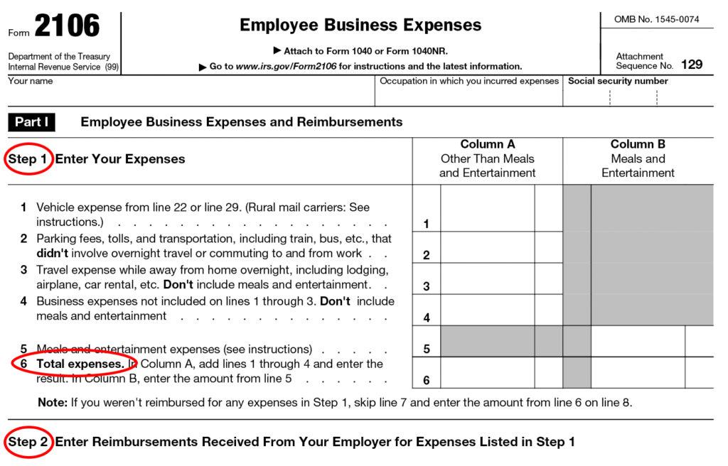 Form 2106 Instructions Information On Irs Form 2106