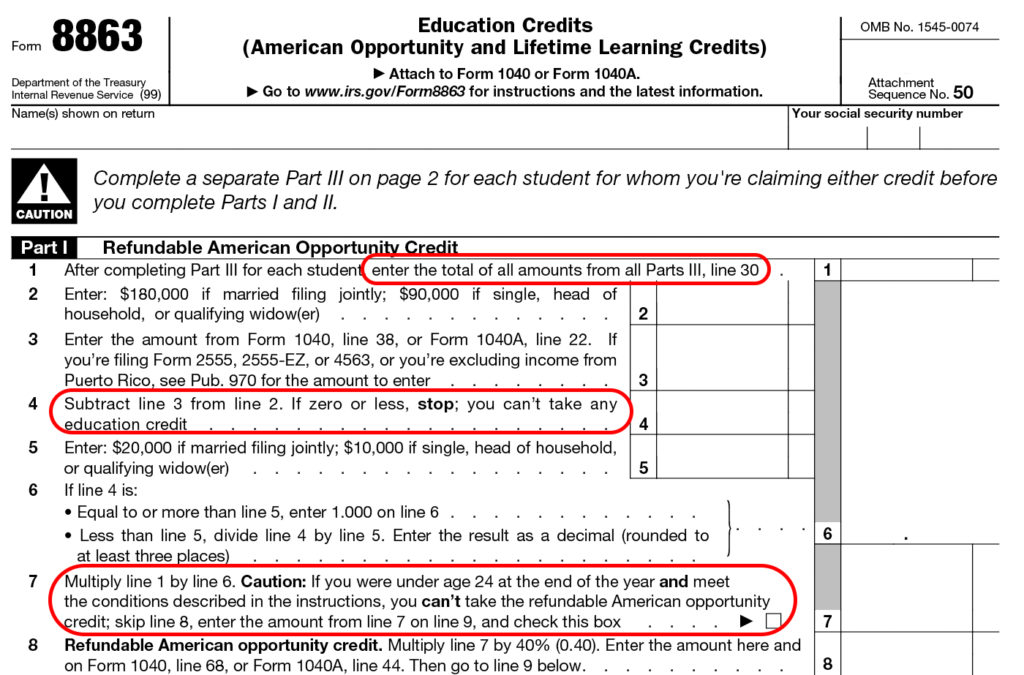 Form 8863 Instructions Information On The Education Credit Form