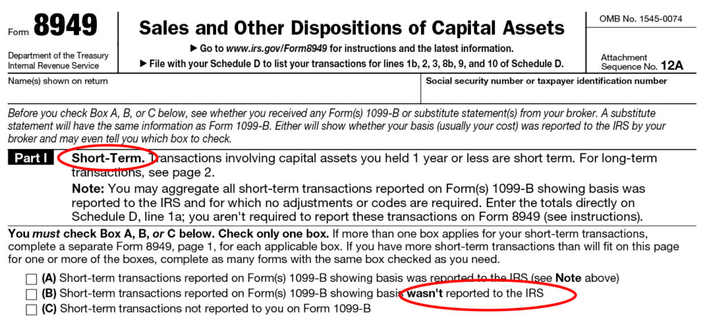 Form 8949 Instructions Information On Capital Gainslosses Form