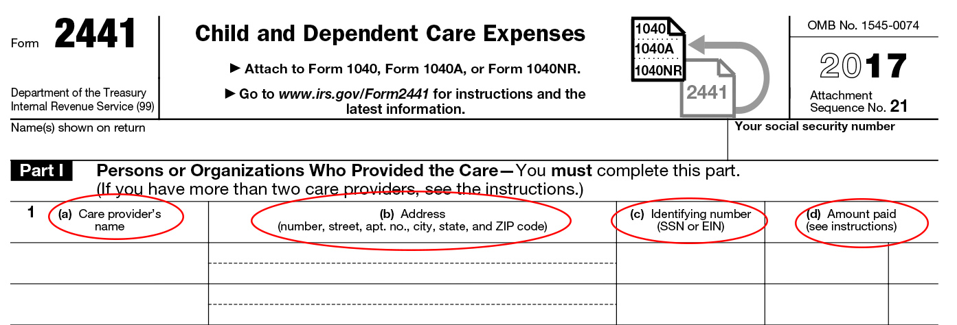 Tax Form 2441 Instructions Info On Childdependent Care Expenses