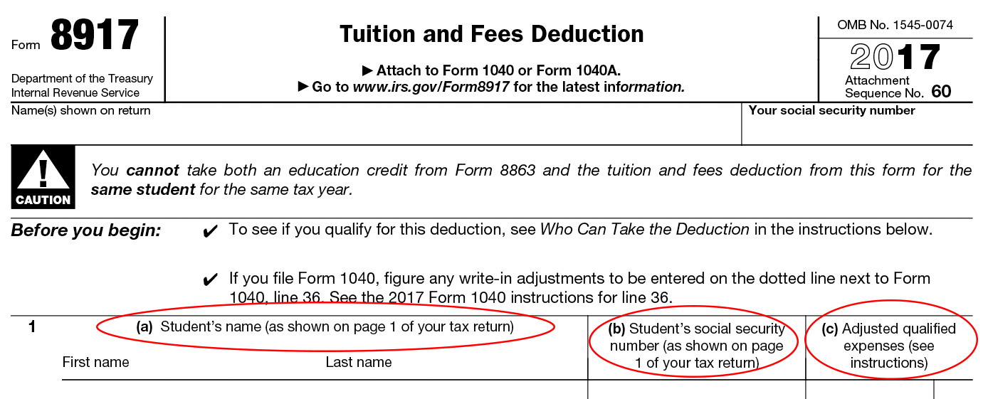 Form 8917 Instructions Information On Tuition Fees Deduction