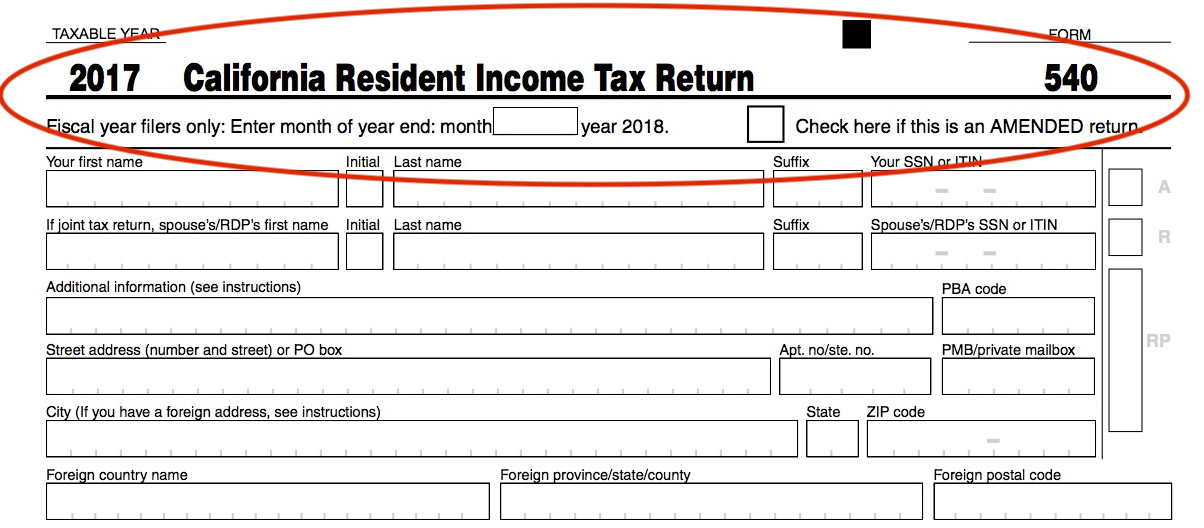 CA Tax Form 540