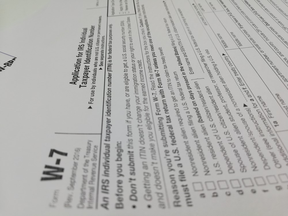 IRS Form W7: Applying for Individual Taxpayer Identification Number